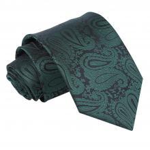 Grön, paisleymönstrad slips