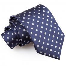 Marinblå polka dot slips