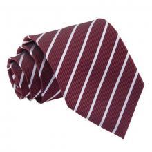 Vinröd-silver randig slips