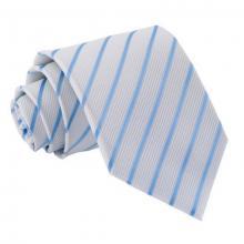 Valkoinen-vaaleansininen raidallinen solmio