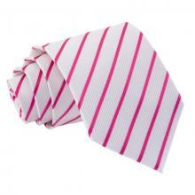 Valkoinen-pinkki raidallinen solmio