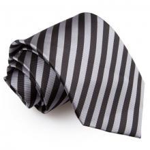Musta-harmaa raidallinen solmio