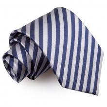 Mariininsininen-hopea raidallinen solmio