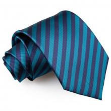 Mariininsininen-sinivihreä raidallinen solmio