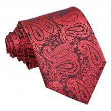 Röd-svart, paisleymönstrad slips