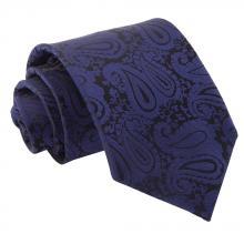 Mörkblå, paisleymönstrad slips
