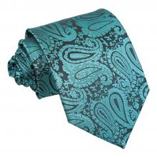 Blågrön, paisleymönstrad slips